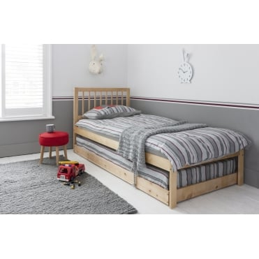 Elsa Day Bed with Trundle Pullout Underbed Natural Pine