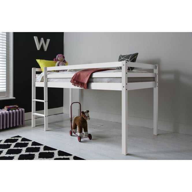 Finn Cabin Bed Midsleeper with Straight Ladder in White