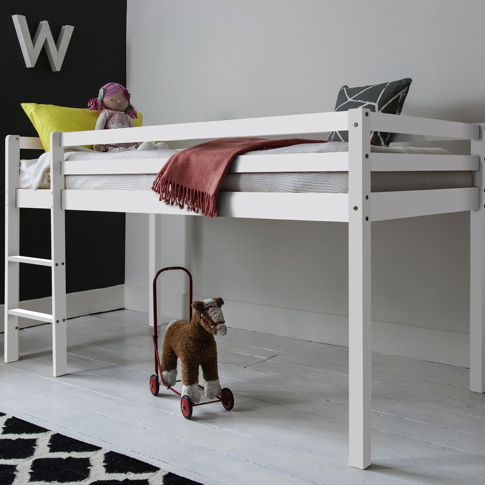 Finn Cabin Bed Midsleeper with Straight Ladder in White ...