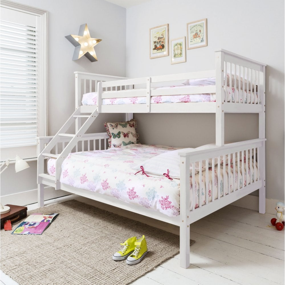 Hanna Triple Bed European Sized Bunk Bed In White N 246 A Amp Nani