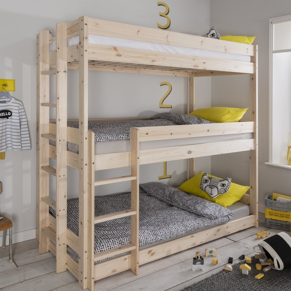 Henrik Triple Bed Bunk Triple Sleeper In Natural Pine Bunk Beds