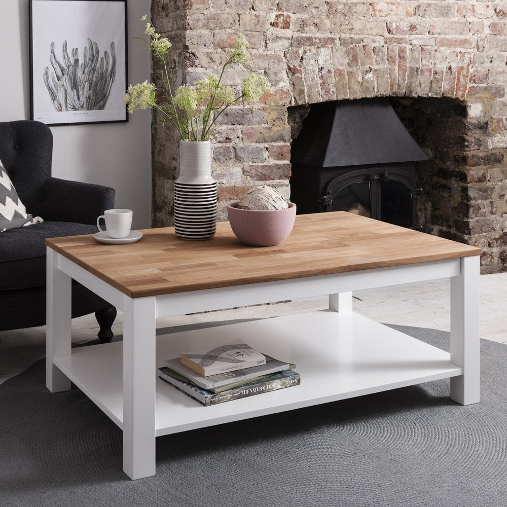 Pine Coffee Table Uk: Hever Coffee Table In White And Natural Pine