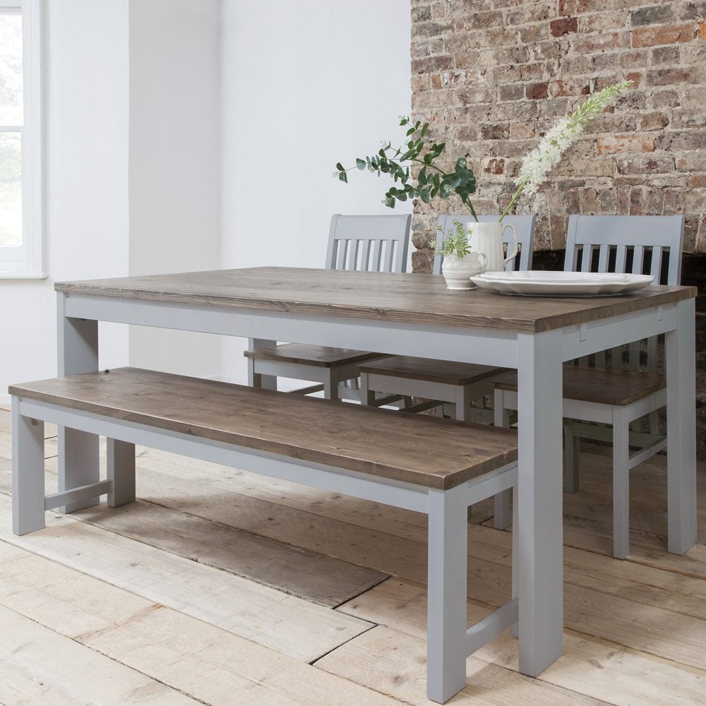 wood kitchen table with bench> OFF 9