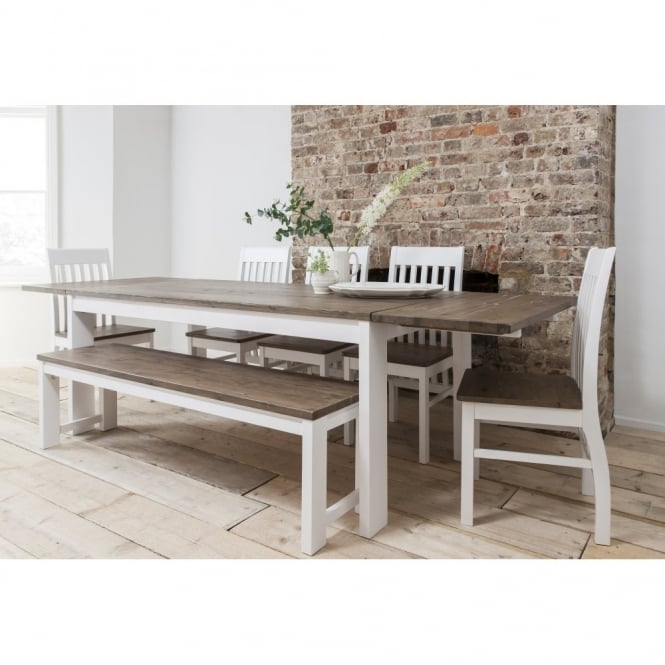 Hever Dining Table with 5 Chairs & Bench & 2 Extensions