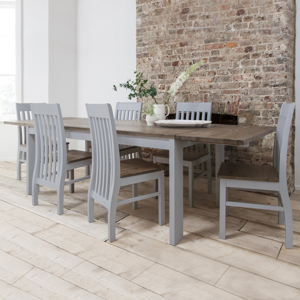 Fabulous Hever Dining Table With 6 Chairs 2 Extensions In Grey And Dark Pine Onthecornerstone Fun Painted Chair Ideas Images Onthecornerstoneorg