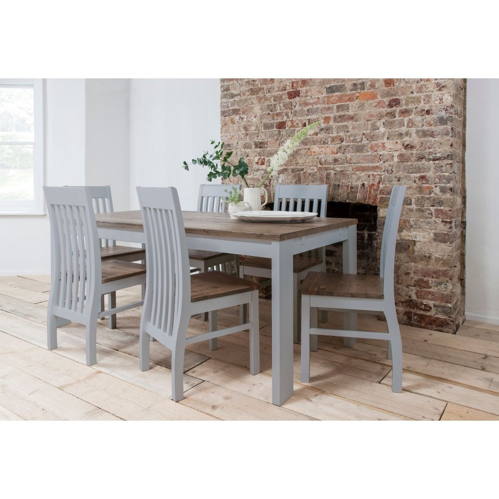 Magnificent Hever Dining Table With 6 Chairs In Grey And Dark Pine Onthecornerstone Fun Painted Chair Ideas Images Onthecornerstoneorg