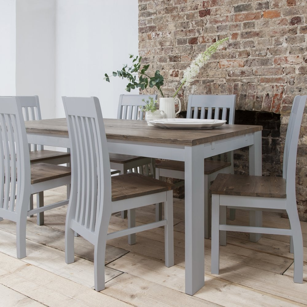 hever dining table with 6 chairs in grey and dark pine