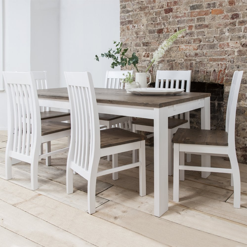 Hever Dining Table with 6 Chairs in White and Dark Pine  sc 1 st  Noa u0026 Nani & Hever Dining Table with 6 Chairs in White and Dark Pine | Noa u0026 Nani