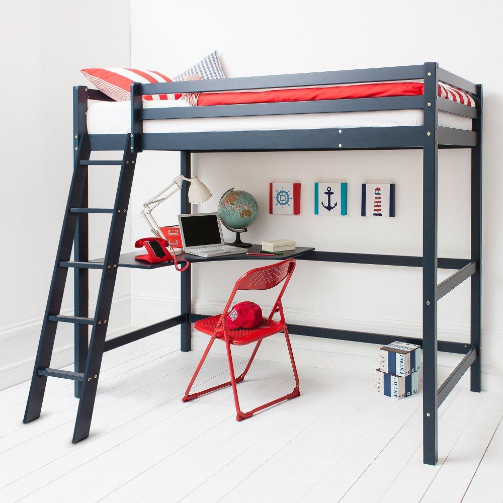 Blue High Sleeper Cabin Bed With Desk Noa Amp Nani