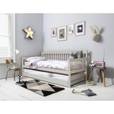 Isabella Day Bed in Silk Grey with Pullout Trundle