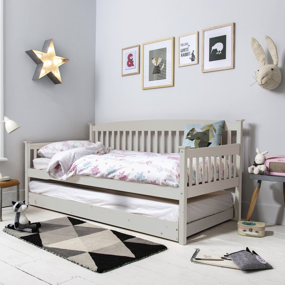 Day Bed.Isabella Day Bed In Silk Grey With Pullout Trundle