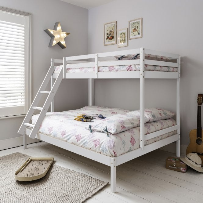 Kent Triple Bed with Single and Double bunk Bed in Classic White