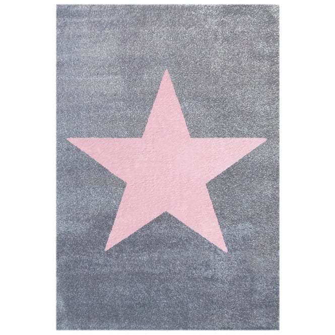 Large Rug with Star in Grey/Silver 180cm x 120cm