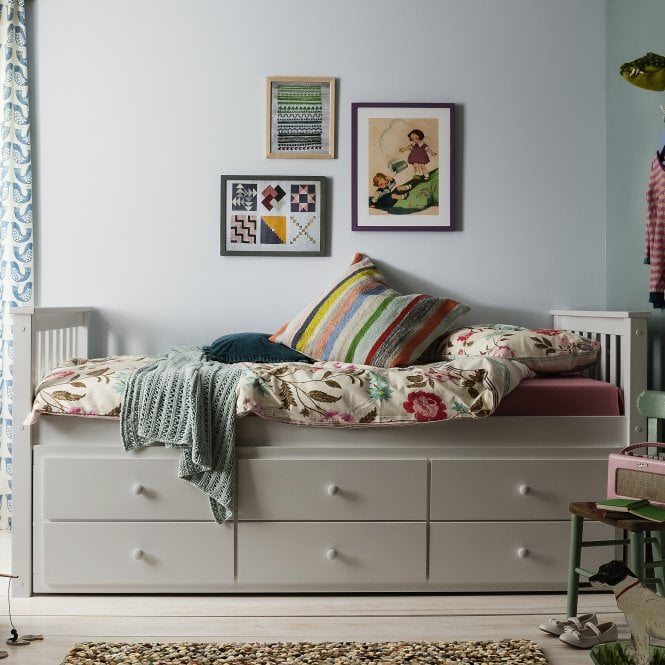 Loki Day Bed with Pullout Drawers and Trundle Underbed in Light Grey