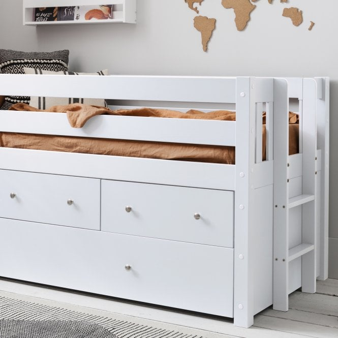 Matilda Midsleeper Cabin Bed with Underbed Storage Drawers in Classic White