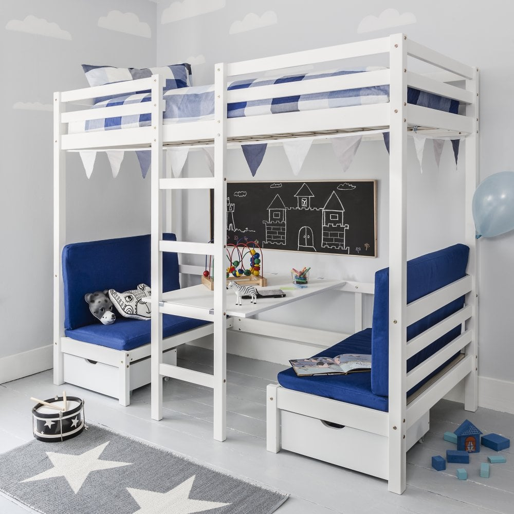 Captivating Max Bunk Bed With Table And Sleep Centre With Blue Cushions