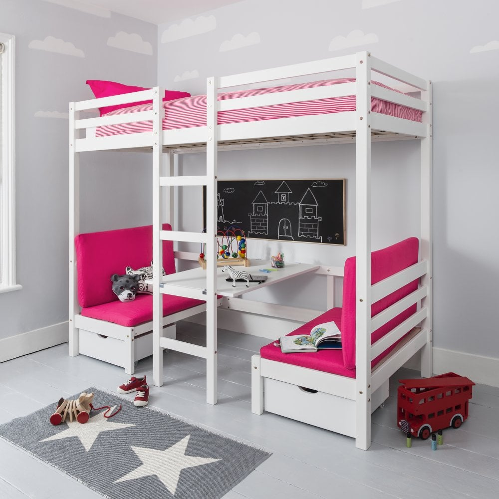 Enjoyable Max Bunk Bed With Table And Sleep Centre With Pink Cushions Download Free Architecture Designs Scobabritishbridgeorg