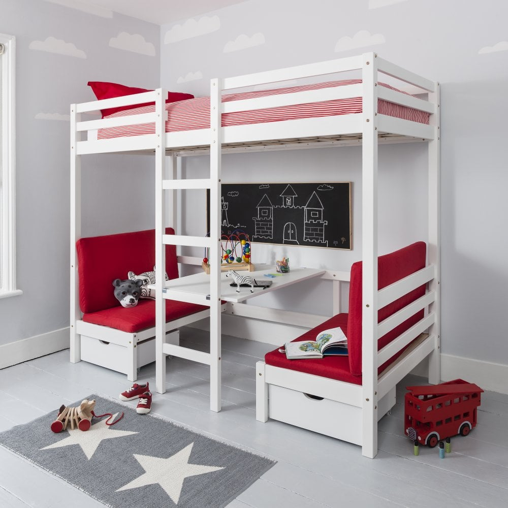 Attractive Max Bunk Bed With Table And Sleep Centre With Red Cushions