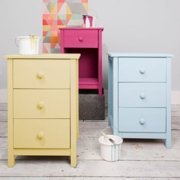 Noa and Nani 3 Drawer Chest of Drawers Bedside Cabinet Arla in Raw Unpainted