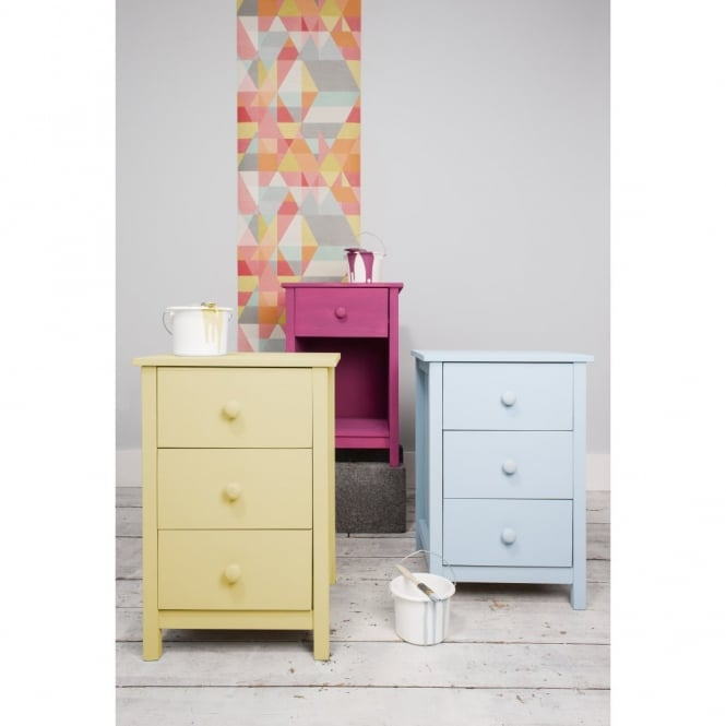 Noa and Nani 3 Drawer Chest of Drawers Bedside Cabinet Arla in White