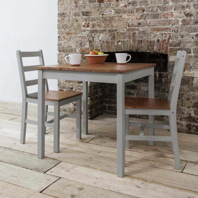 Noa and Nani Annika Bistro Set Table with 2 Chairs in Silk Grey and Natural Pine