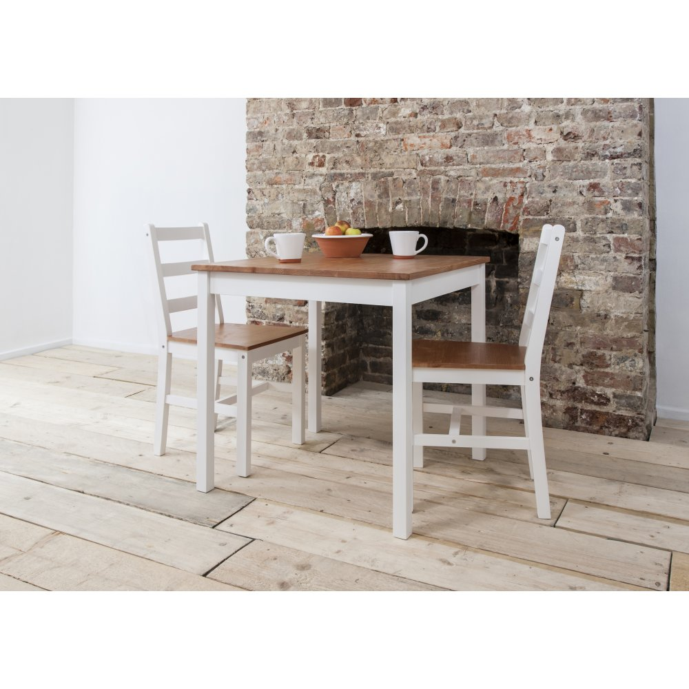 Annika Dining Table With 2chairs Natural Amp White
