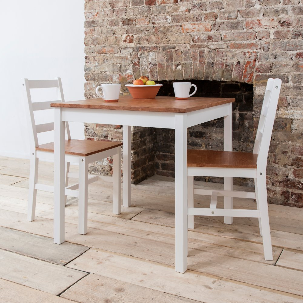 Annika Dining Table With 2 Chairs In Natural Amp White Noa