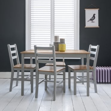 Annika Dining Table in Silk Grey & Pine