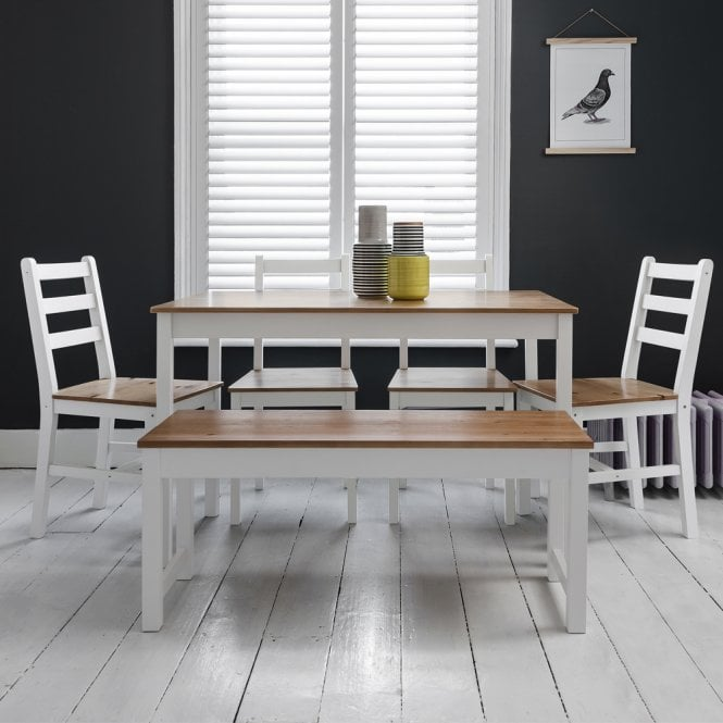 Noa and Nani Annika Dining Table with 4 Chairs & Bench in White & Natural Pine