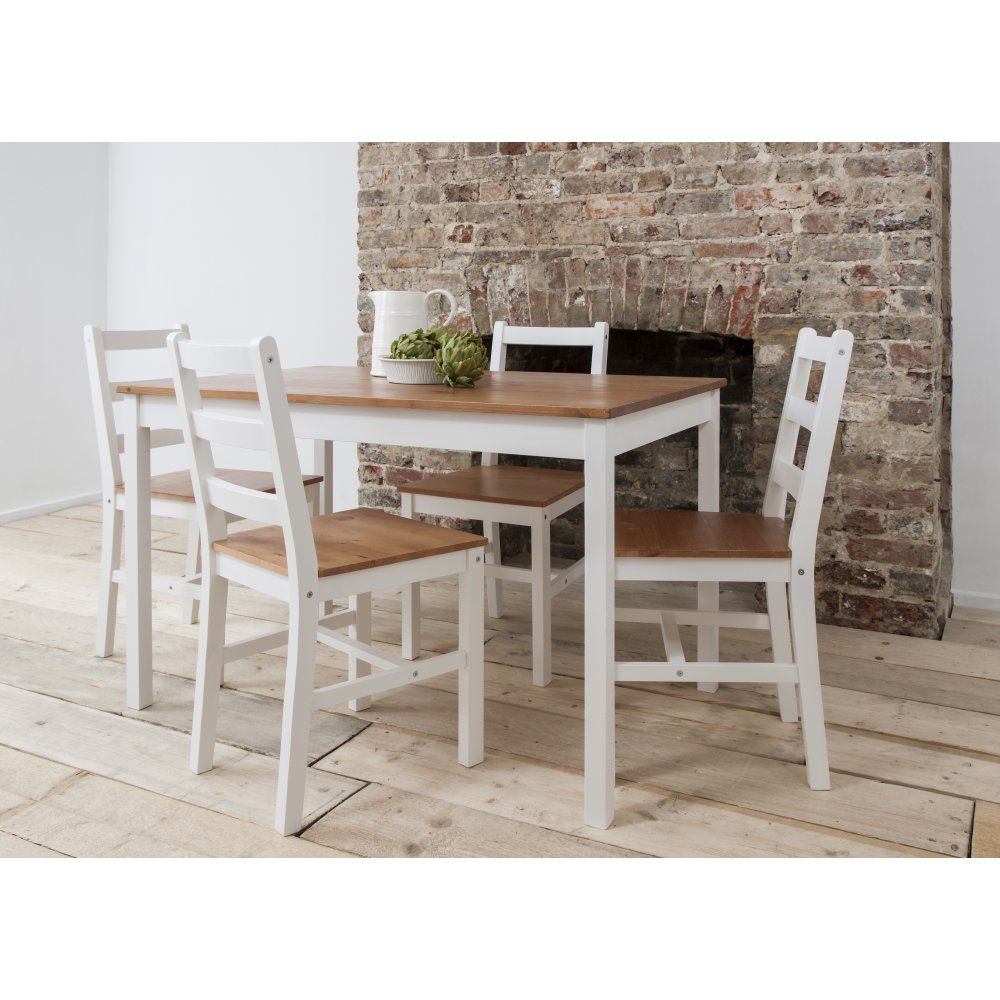 Annika Dining Table with 4 Chairs in Natural White Noa Nani