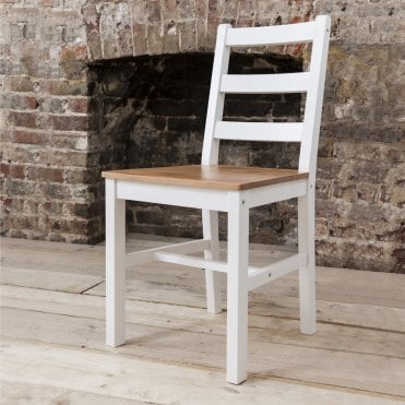 Annika Pair of Dining Chairs in Natural Pine & White