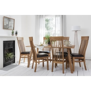 Bosham Dining Set Solid Oak with 6 Chairs Leather upholstery