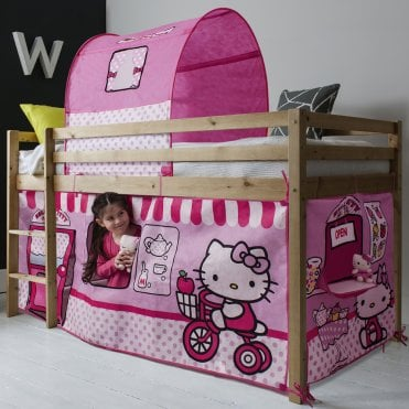 Noa and Nani Cabin Bed Finn Straight Ladder Midsleeper with Hello Kitty Tent