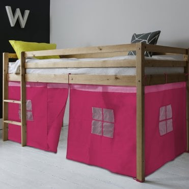 Noa and Nani Cabin Bed Finn Straight Ladder Midsleeper with Pink Tent