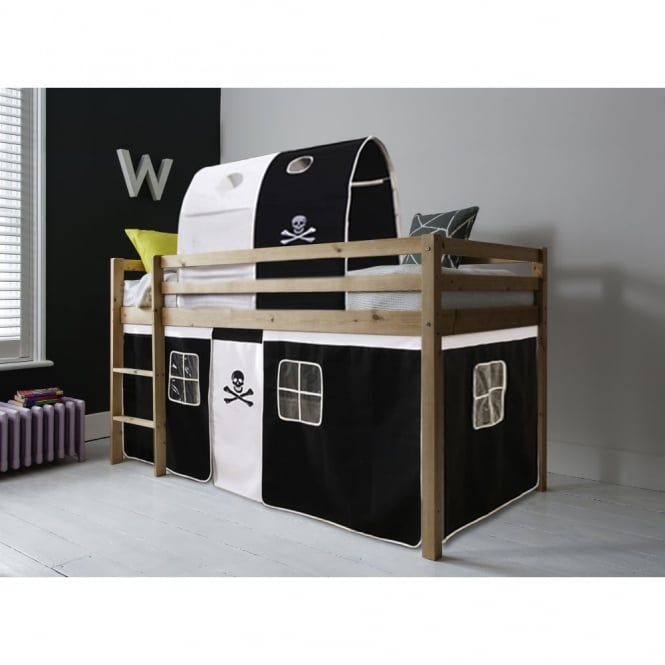 Noa and Nani Cabin Bed Finn Straight Ladder Midsleeper with Pirate Tent