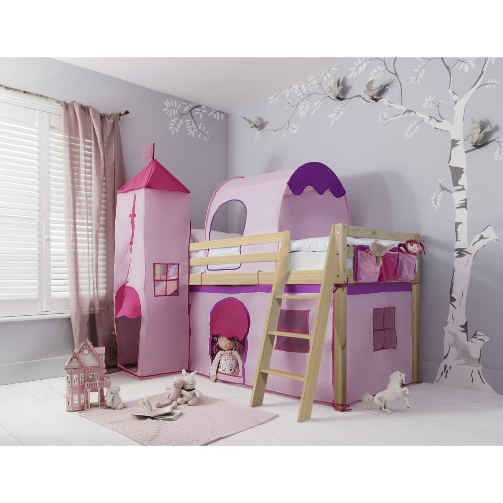 c5d7425feb13 Cabin Bed Midsleeper Kids Pink with Tent