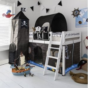 Noa and Nani Cabin Bed Midsleeper Kids Pirate Hideaway with Tent, Tunnel, Tower & Tidy