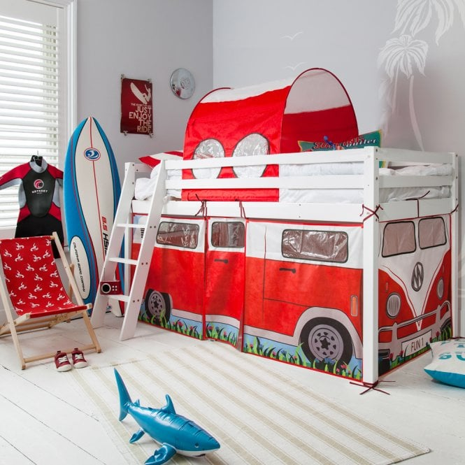 Noa and Nani Cabin Bed Midsleeper with Campervan Tent and Tunnel