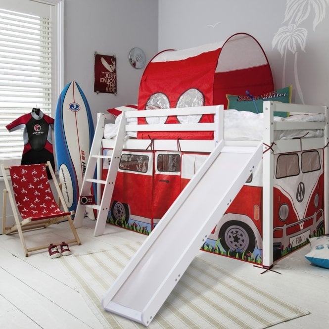Noa and Nani Cabin Bed Midsleeper with Slide & Campervan Tent and Tunnel