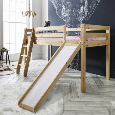 Cabin Bed Thor Midsleeper and Slide with Natural Frame