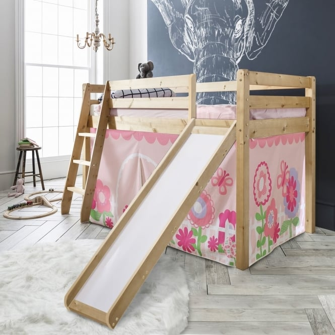 Noa and Nani Cabin Bed Thor Midsleeper in White with Slide & Floral Tent Tower & Tunnel