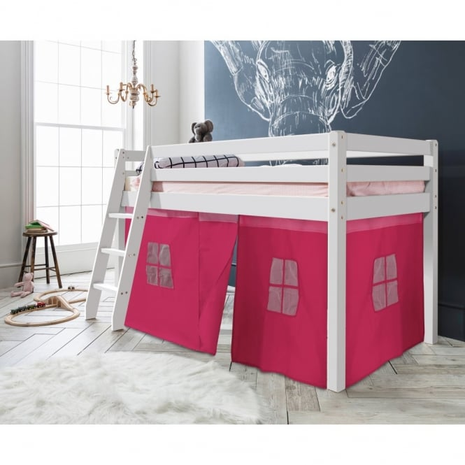 Noa and Nani Cabin Bed Thor Midsleeper with Pink Tent