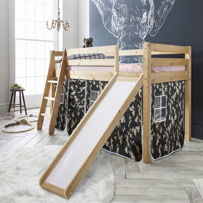 Noa and Nani Cabin Bed Thor Midsleeper with Slide & Army Tent Tower & Tunnel