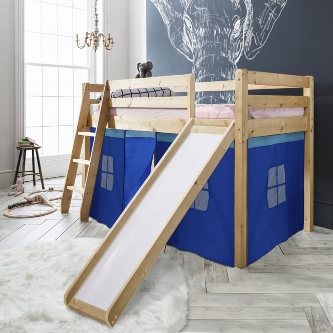 Noa and Nani Cabin Bed Thor Midsleeper with Slide & Blue Tent Tower & Tunnel