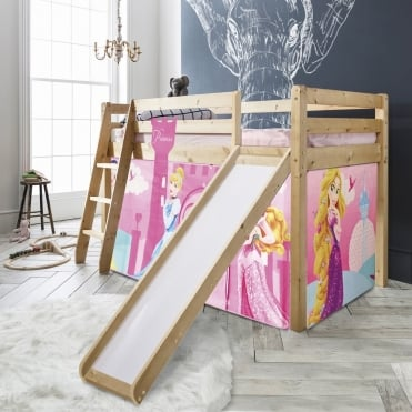 Noa and Nani Cabin Bed Thor Midsleeper with Slide & Disney Princess Tent, Tower & Tunnel