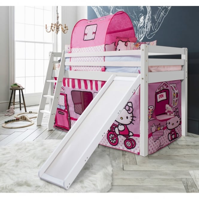 Noa and Nani Cabin Bed Thor Midsleeper with Slide & Hello Kitty Tent