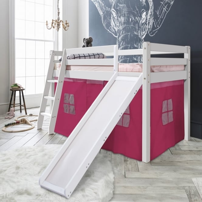 Noa and Nani Cabin Bed Thor Midsleeper with Slide & Pink Tent Tower & Tunnel
