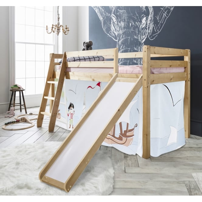 Noa and Nani Cabin Bed Thor Midsleeper with Slide & Pirate Pete Tent