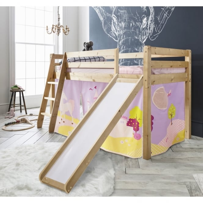 Noa and Nani Cabin Bed Thor Midsleeper with Slide & Princess Fairytale Tent