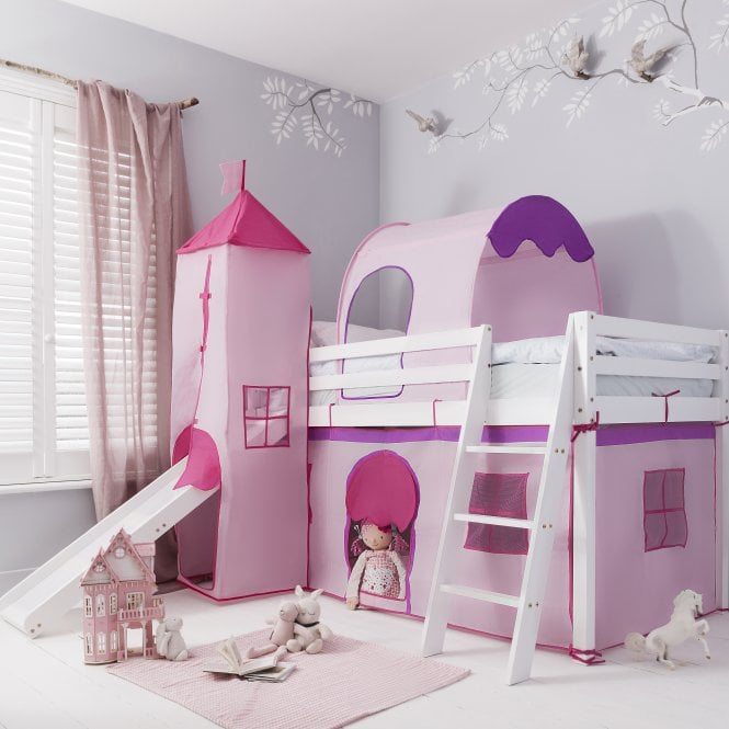 Noa and Nani Cabin Bed with Slide Midsleeper Kids Pink with Tent, Tunnel, Tower & Tidy